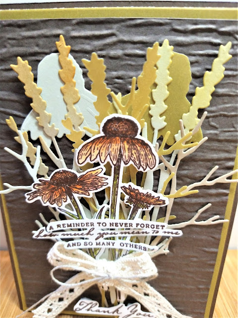 Rhapsody in craft,Early Espresso,#colourcreationsbloghop,Nature's Harvest, Harvest Dies,Bark 3D embossing folder,Friendship Cards,Thank you cards,Flowers,Gold Shimmer Vellum,Stampin Blends,Stampin' Up, Jul-Dec Mini
