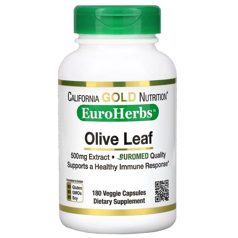California Gold Nutrition, EuroHerbs, экстракт из листьев оливкового дерева, европейское качество, 500 мг, 180 растительных капсул