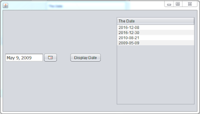 use jtable and jdate chooser using java