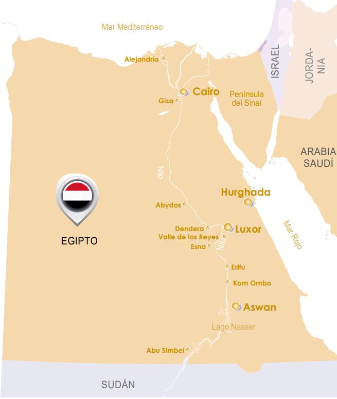 mapa de crucero por el Nilo