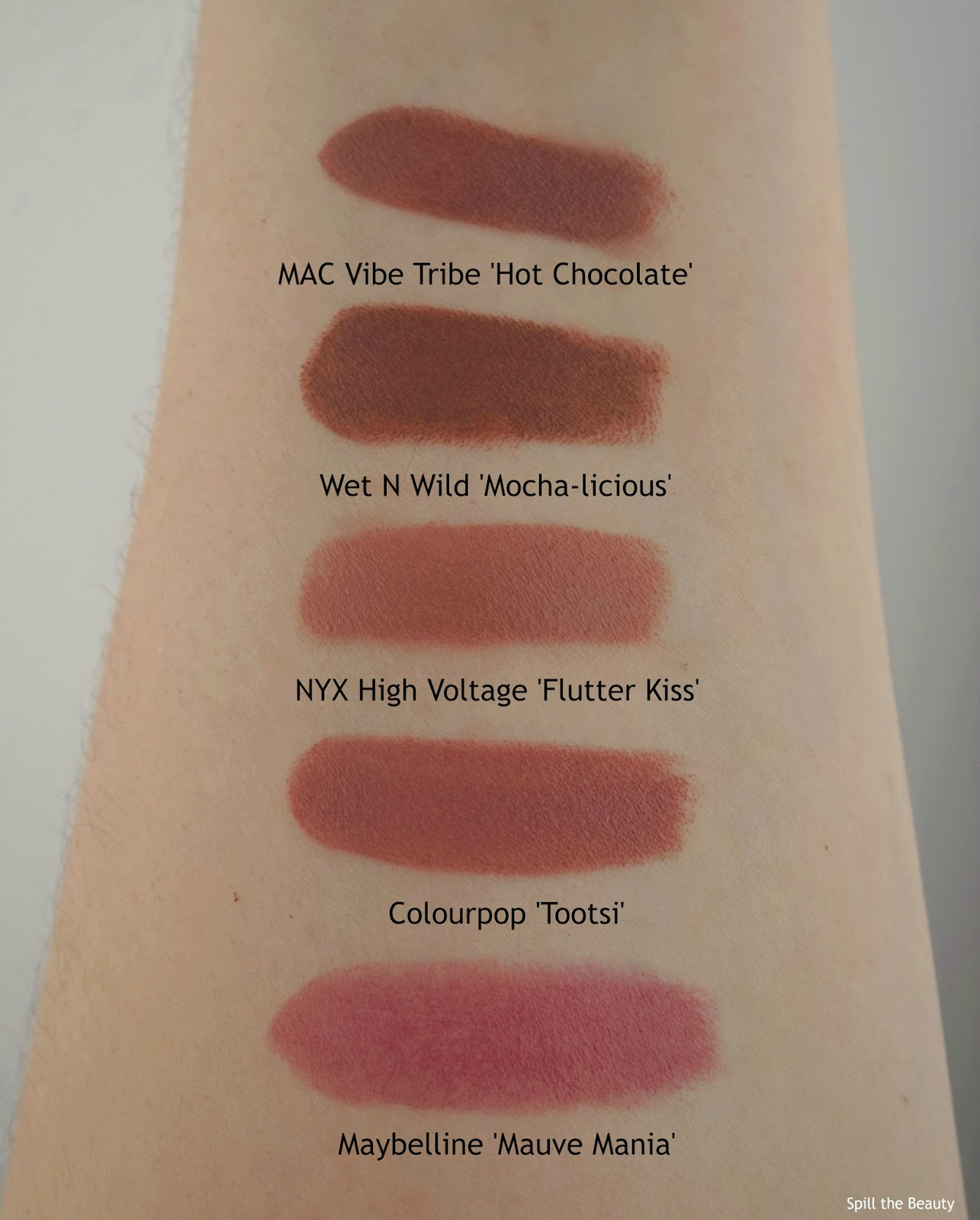 mac vibe tribe hot chocolate dupe drugstore maybelline wet n wild nyx colourpop