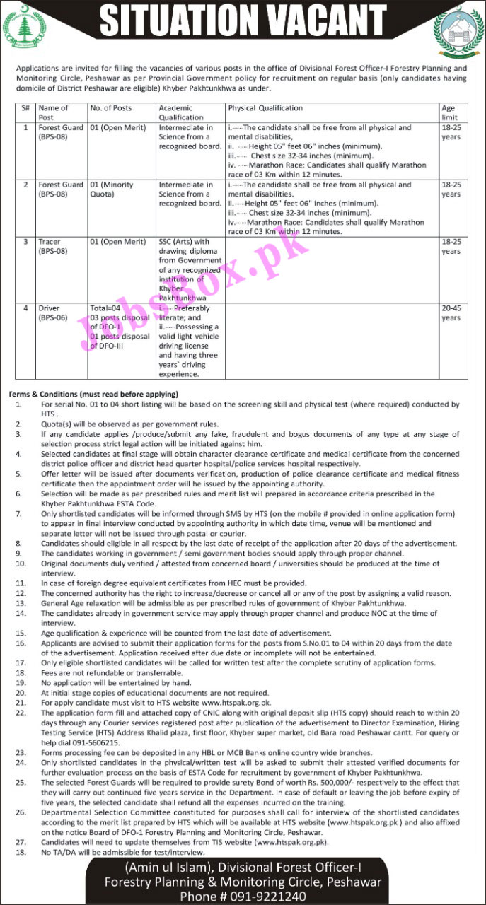 Forest Department Peshawar Jobs 2021 via HTS
