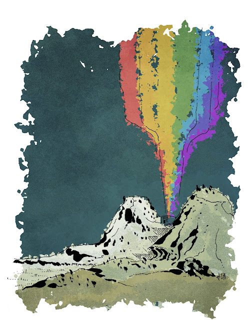 A grey and brown landscape with two rocky mountains and a dark blue-grey sky. Between the mountains, a small circular building erupts with a full color rainbow shooting into the sky.