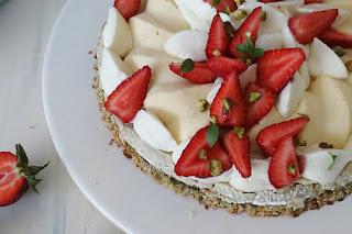 Pistachos, Cheesecake y Frutillas