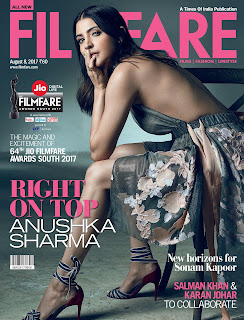 Anushka Sharma in backless gown on cover page of Filmfare Magazine July 2017