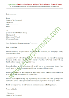 resignation letter without notice period due to illness
