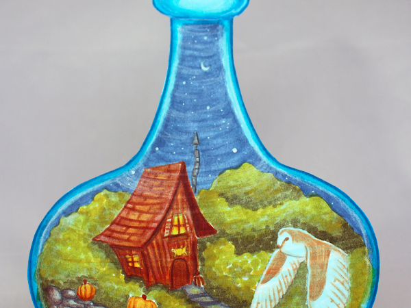 Colouring of The Cottage Witch's Bottle