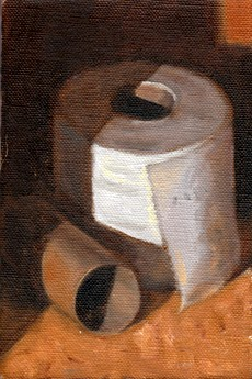 Oil painting of an empty toilet paper roll beside a full toilet paper roll.
