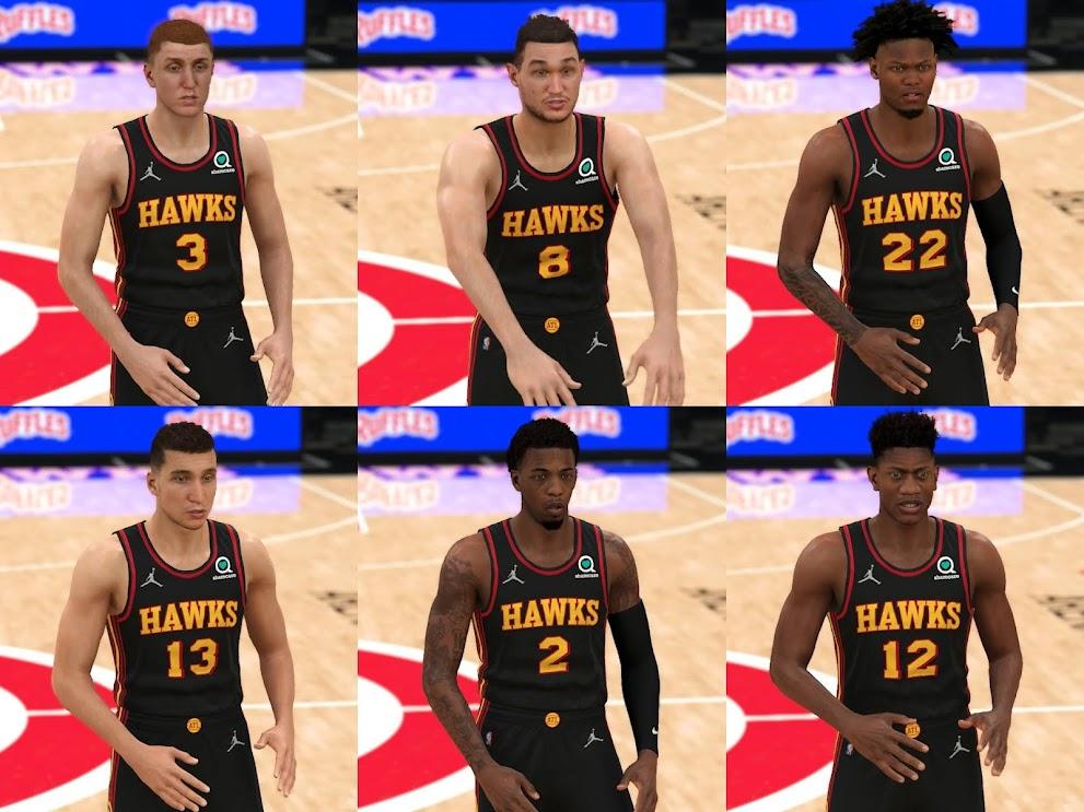NBA 2K22 ATLANTA HAWKS 6 PLAYERS CYBERFACES BODY MODEL PACK BY TEACHER MA