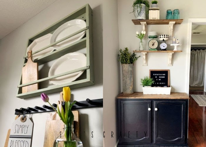 Simple Kitchen Makeover - peg rack, dish rack and sideboard