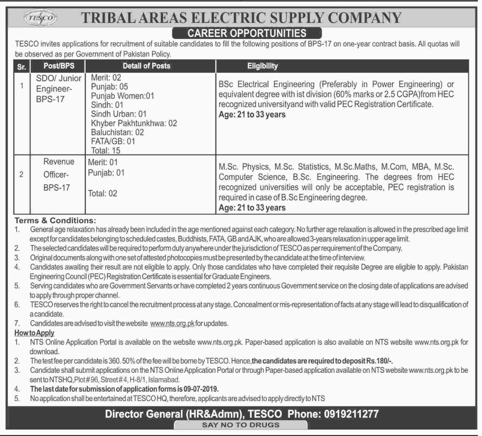 Tribal Areas Electric Supply Company TESCO Jobs