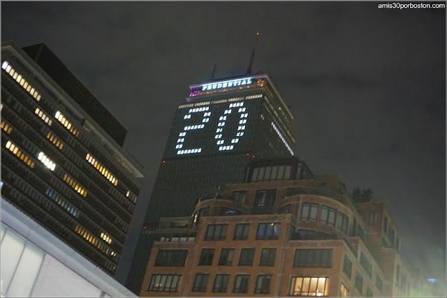 El 20 en el Prudential de Boston durante la Noche Vieja
