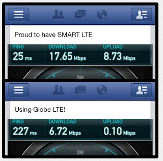 Smart vs. Globe LTE comparison from csanantonio