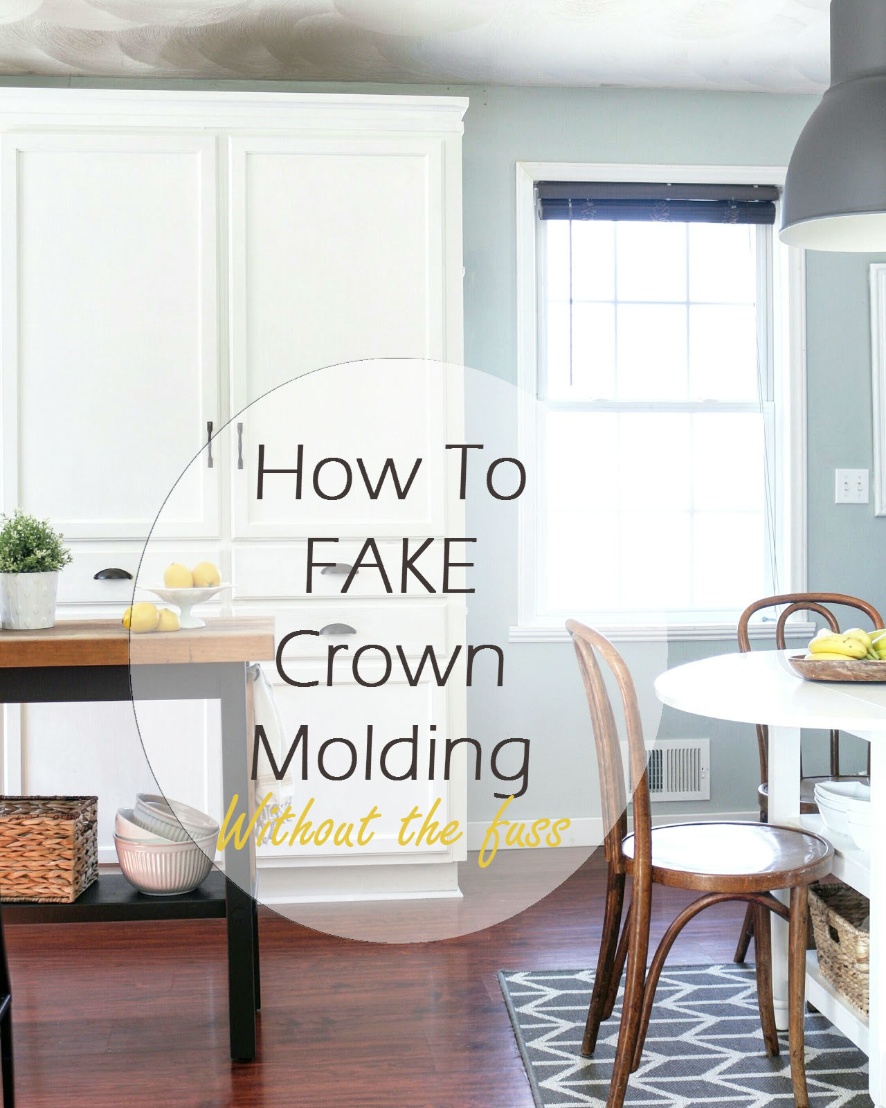 My diy kitchen cabinet crown molding how to fake the for White kitchen cabinets with crown molding