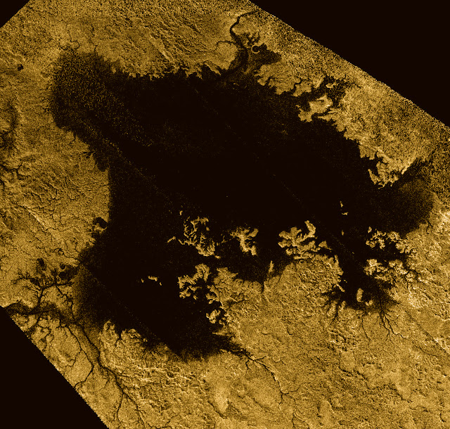 Ligiea Mare is the second largest body of liquid on Saturn's moon Titan. Credits: NASA/JPL-Caltech/ASI/Cornell