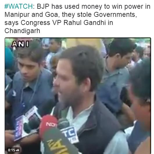 बीजीपी ने चुरा ली गोवा और मणिपुर में सरकार, राहुल गांधी
