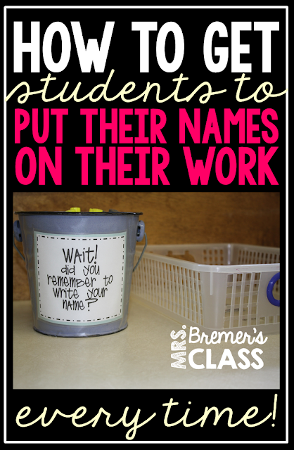 A surefire way to get students to write their names on their papers {works for ANY grade!}