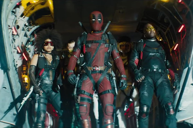 "Zazie Beetz, Ryan Reynolds, and Terry Crews in ""Deadpool 2"""