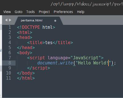 - script untuk membuat tulisan hello world dengan javascript