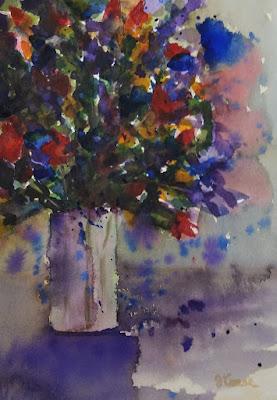 Watercolor - John Keese - Flowers in Vase