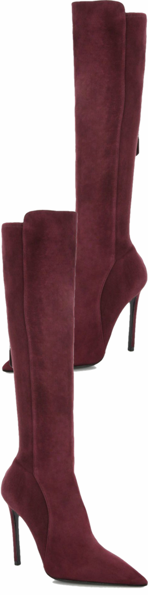 Prada Stretch Suede Knee-High Boots Bordeaux