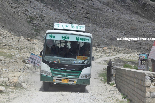 This bus service is going from Manali to Kaza which is at different path