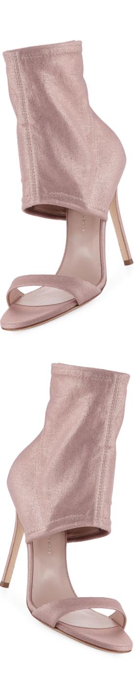 GIUSEPPE ZANOTTI Metallic Stretch-Canvas Bootie, Light Pink