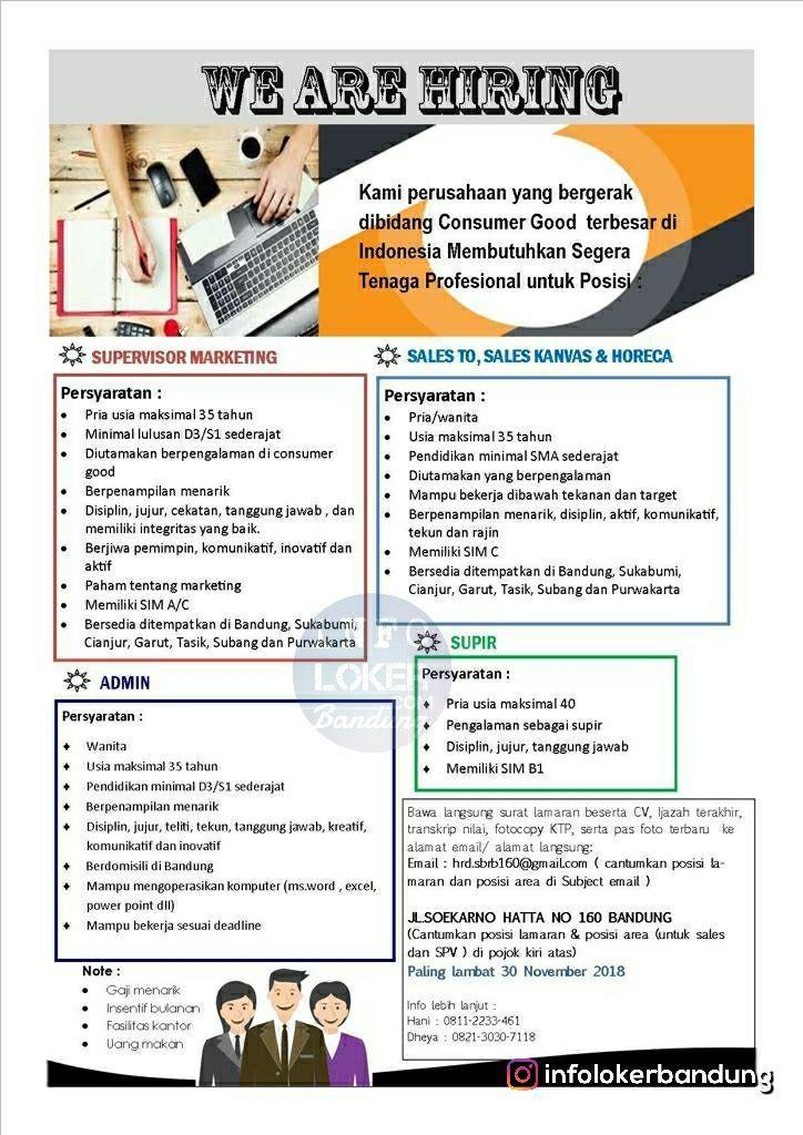 Lowongan Kerja Perusahaan Yang Bergerak Di Bidang Consumer Good Bandung November 2018