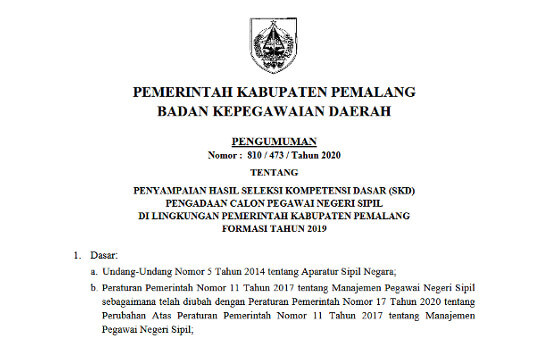 Cek Disini Slurr! Hasil Tes SKD CPNS 2019 Kabupaten Pemalang
