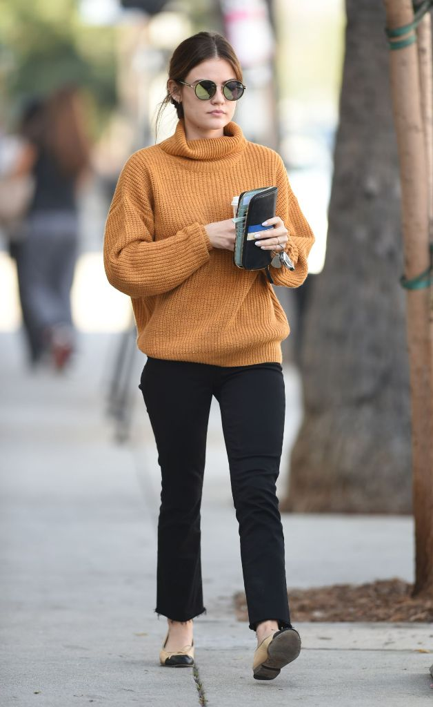 Lucy Hale street style fashion stop by a Starbucks
