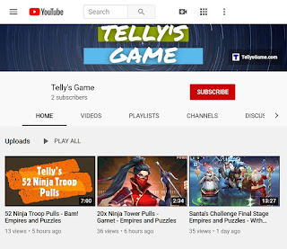 Telly's Game YouTube Channel Home Screen
