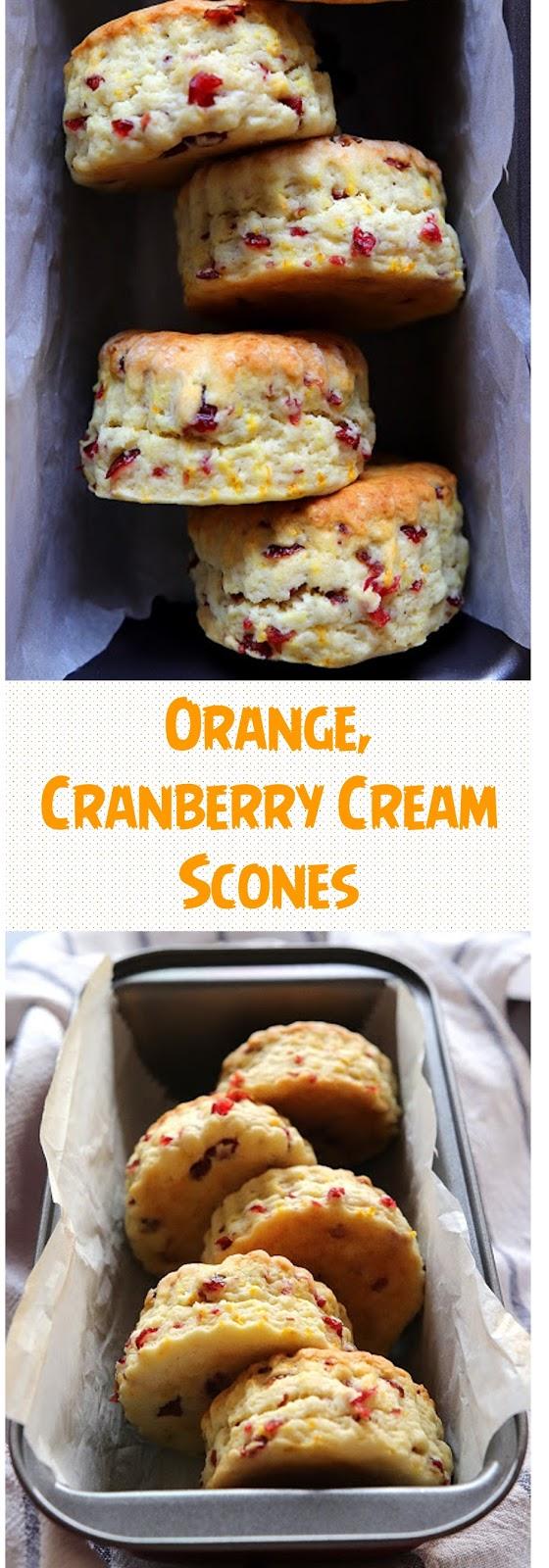Orange, Cranberry Cream Scones