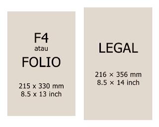 Ukuran Kertas F4 (Folio) dan Legal