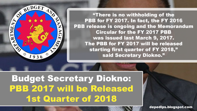 SEC. DIOKNO: PBB 2017 WILL BE RELEASED 1ST QUARTER 2018
