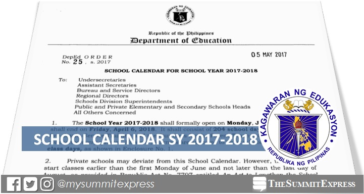 deped releases school calendar for sy 2017 2018 classes to open june 5