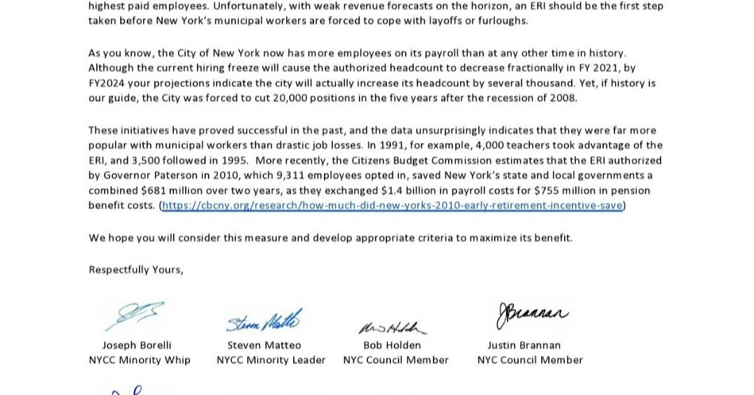 Iceuft Blog Letter From 8 City Councilmembers To Mayor Seeking Early Retirement Incentive For City Employees
