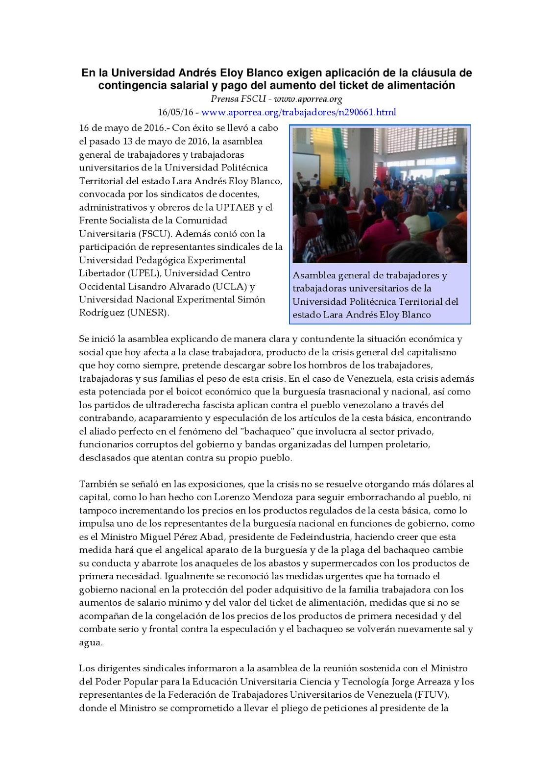En la universidad andr s eloy blanco exigen aplicaci n de la cl usula de contingencia salarial y pago del aumento del ticket de alimentaci n