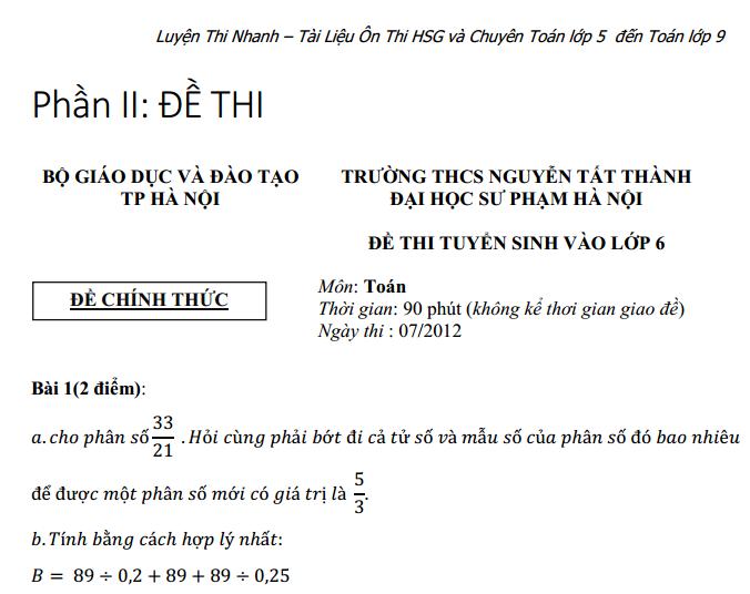 [ĐÁP ÁN] ĐỀ THI VÀO LỚP 6 TRƯỜNG NGUYỄN TẤT THÀNH - ĐHSPHN 2012 - 2013