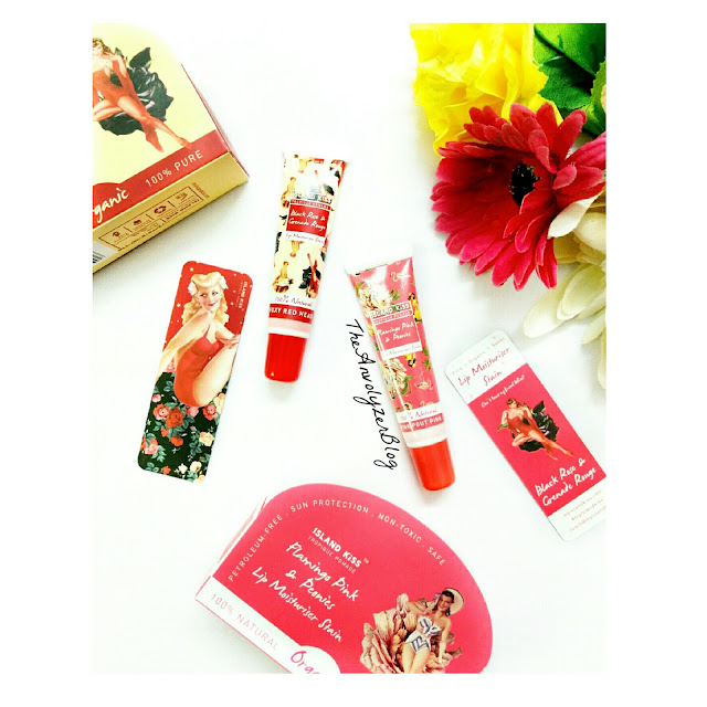 Review : Lip Moisturiser Stains by Island Kiss - Flamingo Pink and Peonies, Black Rose and Grenade Rouge