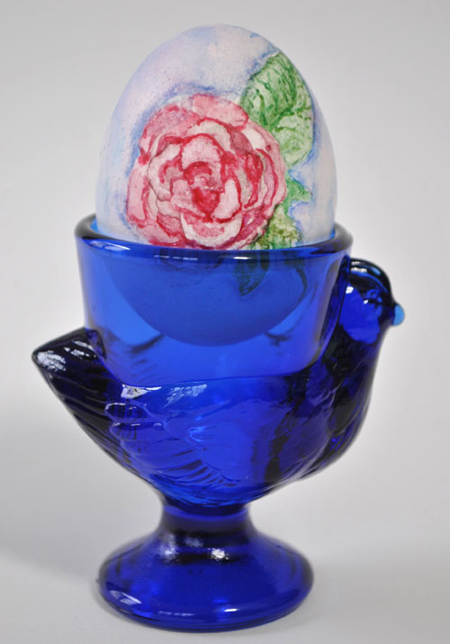 watercolor rose painted easter egg