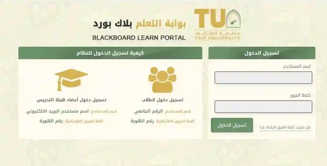 رابط بلاك بورد جامعة الطائف الجديد