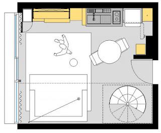 Plano de una vivienda en una sola habitación