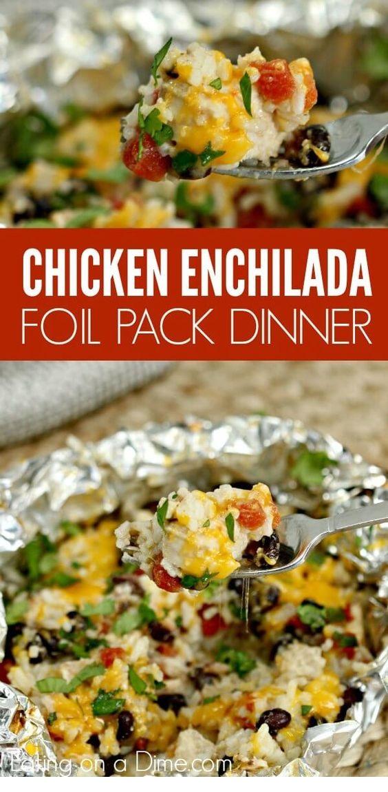 Easy Chicken Enchilada Foil Packet Meal