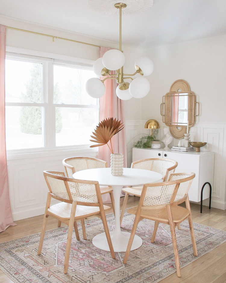 Tour Brit's delightful home with touches of pink and gold