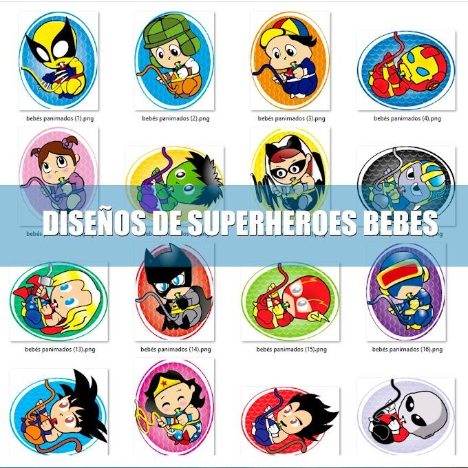 PACK DE DISEÑOS DE SUPERHEROES BEBÉS