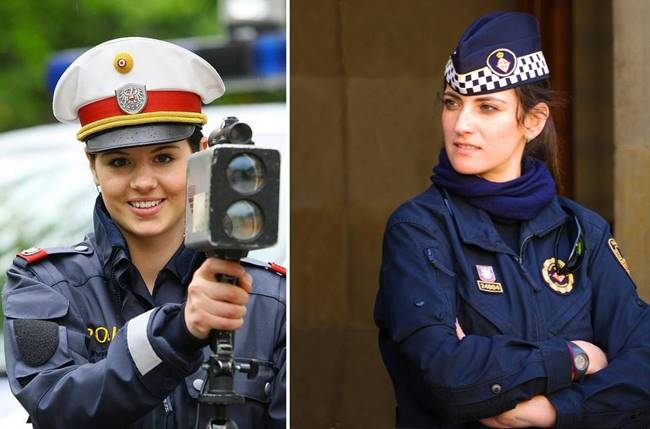 The most beautiful police girls from different countries