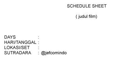 Cara Membuat Schedule Shooting Film