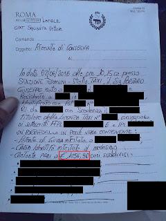 verbale di riconsegna portafoglio tassista roma