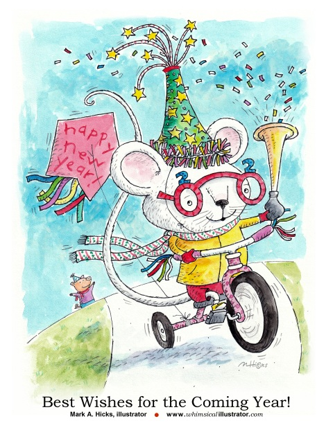 The Year of the Rat. Happy New Year 2020 from illustrator Mark A. Hicks
