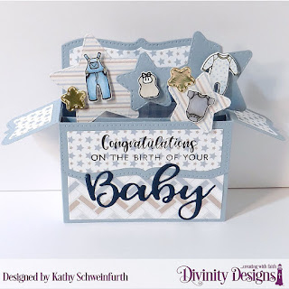 Divinity Designs Stamp/Die Duos:Baby Clothesline, Bless This Baby, Custom Dies: Surprise Box Wide, Double Stitched Stars, Paper Collection: Baby Boy